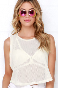 Way We Roll Cream Mesh Crop Top at Lulus.com!