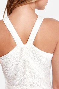 Code of Aesthetics Ivory Lace Halter Dress at Lulus.com!