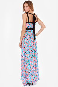In Great Shape Coral and Blue Print Maxi Dress at Lulus.com!