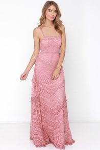 Beneath the Garden Arbor Dusty Rose Lace Maxi Dress at Lulus.com!