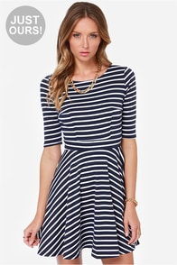 LULUS Exclusive Just a Twirl Navy Blue Striped Dress at Lulus.com!