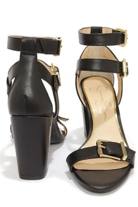 Jessica Simpson Julinda Black Leather Ankle Strap Heels at Lulus.com!