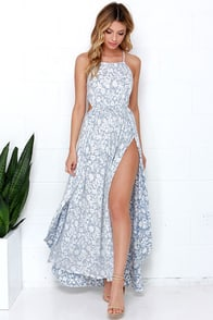 Billabong Sounds of the Sea Blue and Ivory Print Maxi Dress at Lulus.com!