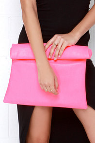 Roll Along Neon Pink Clutch at Lulus.com!