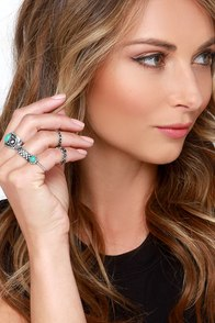 Montezuma Castle Silver and Turquoise Ring Set at Lulus.com!