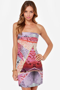 Boldly Go Strapless Purple Print Silk Dress at Lulus.com!