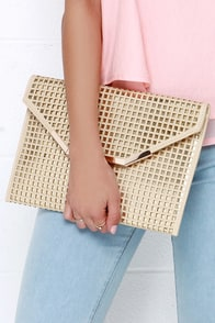 Charisma Queen Gold and Beige Envelope Clutch at Lulus.com!