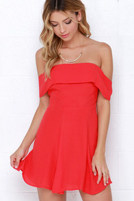 Crossroad Cutie Coral Red Off-the-Shoulder Dress at Lulus.com!