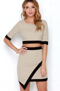 Tickle the Ivories Beige Two-Piece Dress at Lulus.com!