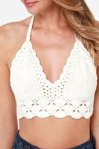 Riding Boho Ivory Crochet Halter Top at Lulus.com!