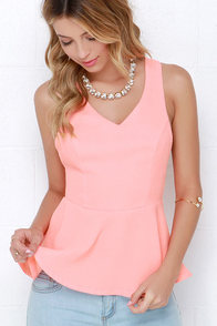 Best of the Best Coral Peplum Top at Lulus.com!