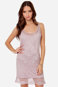 Volcom Dwell Taupe Crochet Dress at Lulus.com!