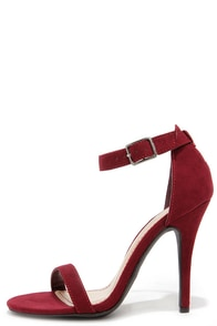 Anne Michelle Enzo 01N Wine Suede Single Strap Heels at Lulus.com!