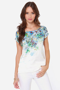 Dex Sprout Up Ivory Floral Print Top at Lulus.com!