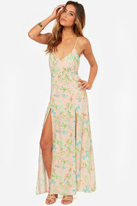 Garden Goddess Light Pink Floral Print Maxi Dress at Lulus.com!