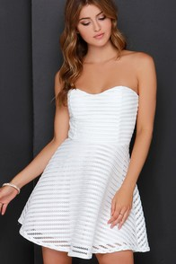 As if Enthralled Ivory Strapless Skater Dress at Lulus.com!