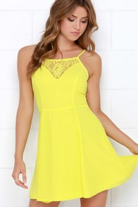 Muy Caliente Chartreuse Lace Dress at Lulus.com!