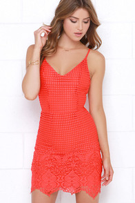 Midsummer Dreamin' Red Orange Lace Dress at Lulus.com!