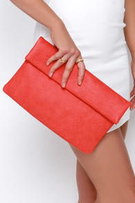 Brighten My Day Coral Red Clutch at Lulus.com!