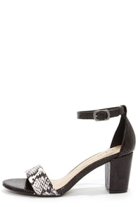 CL by Laundry Janella Viper Black and White Dress Sandals at Lulus.com!