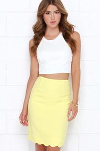 Hop, Scallop, and a Jump Yellow Pencil Skirt at Lulus.com!