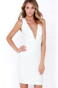 Take Me On Ivory Bodycon Midi Dress at Lulus.com!