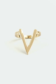 V the People Gold Ring at Lulus.com!