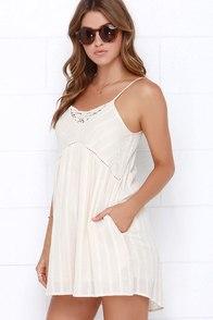 Billabong Midnight Dreamin Cream Embroidered Dress at Lulus.com!