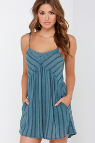 Billabong Midnight Dreamin Slate Blue Embroidered Dress at Lulus.com!