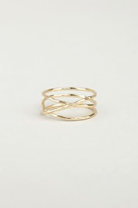 Sealed With a Twist Gold Ring at Lulus.com!