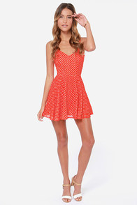 Rhythm Polka Daisy Red Orange Print Dress at Lulus.com!