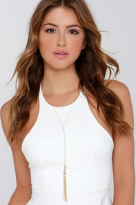 Join the Fun Gold Tassel Drop Necklace at Lulus.com!