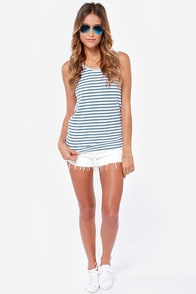 Rhythm The Strokes Scoop Striped Blue Tank Top at Lulus.com!