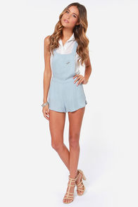 Rhythm My Overalls Light Blue Short Overalls at Lulus.com!