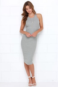 Glamorous Basic Requirement Grey Bodycon Midi Dress at Lulus.com!