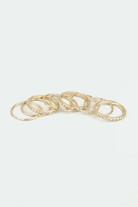 Nine and Dandy Gold Ring Set at Lulus.com!