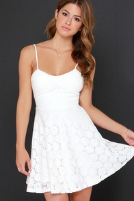 Lace Embrace Ivory Lace Skater Dress at Lulus.com!