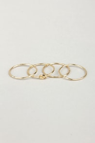Knot for You Gold Ring Set at Lulus.com!