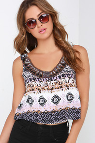 Glamorous Leader of the Tribe Purple Print Crop Top at Lulus.com!