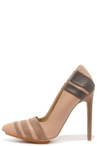 GX by Gwen Stefani Cage Nude Matte Pointed Pumps at Lulus.com!