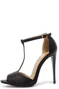 Plus One Black T-Strap Heels at Lulus.com!