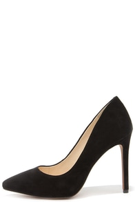 Jessica Simpson Premer Black Kid Suede Leather Pointed Pumps at Lulus.com!