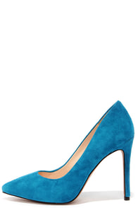 Jessica Simpson Premer Cerulean Kid Suede Leather Pointed Pumps at Lulus.com!