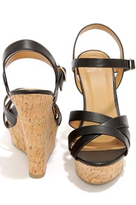 My Delicious Serum Black Peep Toe Wedge Sandals at Lulus.com!