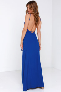 Shoreside Vision Cobalt Blue Backless Maxi Dress at Lulus.com!