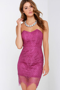 Weave a Web Purple Lace Strapless Dress at Lulus.com!
