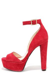 Jessica Simpson Athens Lipstick Red Kid Suede Platform Heels at Lulus.com!