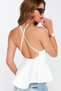 Truly Scrumptious Ivory Peplum Top at Lulus.com!