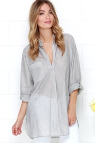 French Boulevard Ivory and Grey Striped Tunic Top at Lulus.com!