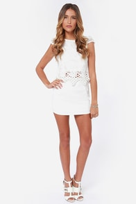 In Hot Pursuit Ivory Lace Top at Lulus.com!